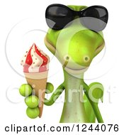 Clipart Of A 3d Green Gecko In Sunglasses Holding An Ice Cream Cone Royalty Free Illustration