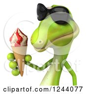 Clipart Of A 3d Green Gecko In Sunglasses Holding An Ice Cream Cone 2 Royalty Free Illustration