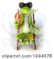Clipart Of A 3d Green Gecko In Sunglasses Holding An Ice Cream Cone On A Chaise Lounge Royalty Free Illustration