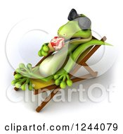 Clipart Of A 3d Green Gecko In Sunglasses Eating An Ice Cream Cone On A Chaise Lounge Royalty Free Illustration