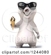 Clipart Of A 3d Polar Bear In Sunglasses Holding An Ice Cream Cone Royalty Free Illustration