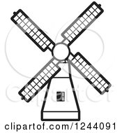 Clipart Of A Black And White Windmill 3 Royalty Free Vector Illustration