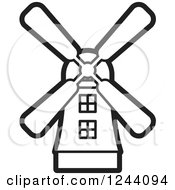 Clipart Of A Black And White Windmill 2 Royalty Free Vector Illustration