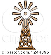 Clipart Of A Windmill 3 Royalty Free Vector Illustration