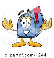 Blue Postal Mailbox Cartoon Character With Welcoming Open Arms