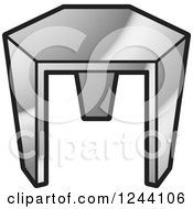 Clipart Of A Silver Tripod Stool Royalty Free Vector Illustration by Lal Perera