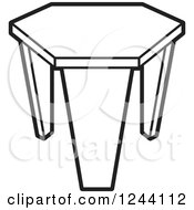 Clipart Of A Black And White Tripod Stool 2 Royalty Free Vector Illustration by Lal Perera