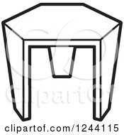 Clipart Of A Black And White Tripod Stool 4 Royalty Free Vector Illustration by Lal Perera
