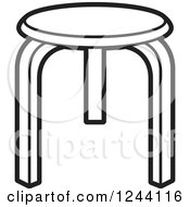 Clipart Of A Black And White Tripod Stool Royalty Free Vector Illustration by Lal Perera