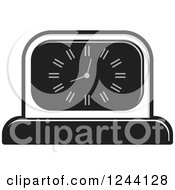 Clipart Of A Black And White Mantle Clock 2 Royalty Free Vector Illustration by Lal Perera