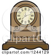 Clipart Of A Mantle Clock Royalty Free Vector Illustration by Lal Perera