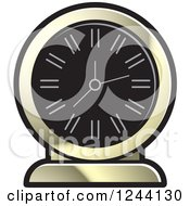 Clipart Of A Black And Gold Mantle Clock Royalty Free Vector Illustration