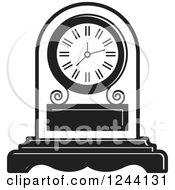 Clipart Of A Black And White Mantle Clock 3 Royalty Free Vector Illustration