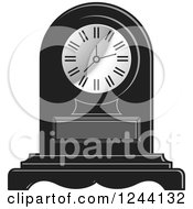 Clipart Of A Black And White Mantle Clock 4 Royalty Free Vector Illustration by Lal Perera