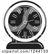 Clipart Of A Black And White Mantle Clock 5 Royalty Free Vector Illustration by Lal Perera