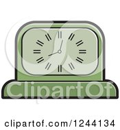 Clipart Of A Green Mantle Clock Royalty Free Vector Illustration