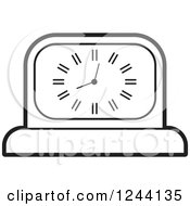 Clipart Of A Black And White Mantle Clock Royalty Free Vector Illustration by Lal Perera