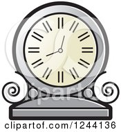 Clipart Of A Silver Mantle Clock Royalty Free Vector Illustration by Lal Perera