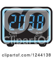 Clipart Of A Blue Digital Alarm Clock Royalty Free Vector Illustration by Lal Perera
