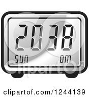 Clipart Of A Silver Digital Alarm Clock Royalty Free Vector Illustration by Lal Perera