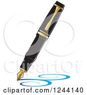 Clipart Of A Vintage Fountain Pen Nib Drawing Blue Swirls Royalty Free Vector Illustration