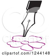 Clipart Of A Vintage Fountain Pen Nib Drawing A Flower Royalty Free Vector Illustration