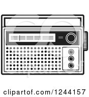 Clipart Of A Black And White Pocket Radio Royalty Free Vector Illustration by Lal Perera