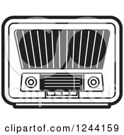 Clipart Of A Black And White Retro Radio Royalty Free Vector Illustration by Lal Perera