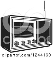 Clipart Of A Black And White Retro Radio 2 Royalty Free Vector Illustration by Lal Perera