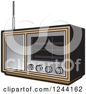 Clipart Of A Retro Radio Royalty Free Vector Illustration by Lal Perera