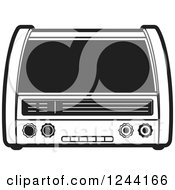 Clipart Of A Black And White Retro Radio 4 Royalty Free Vector Illustration by Lal Perera
