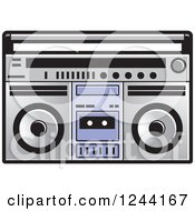 Clipart Of A Cassette Tape In A Boom Box Royalty Free Vector Illustration by Lal Perera