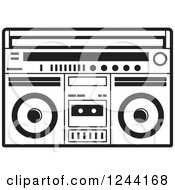 Clipart Of A Black And White Cassette Tape In A Boom Box Royalty Free Vector Illustration