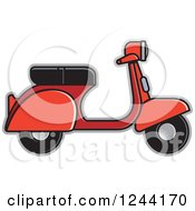 Clipart Of A Red Scooter Royalty Free Vector Illustration