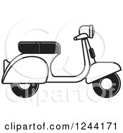 Clipart Of A Black White And Gray Scooter Royalty Free Vector Illustration