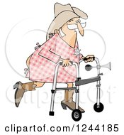 Clipart Of A Senior Cowboy Man Using A Walker Royalty Free Illustration