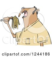 Clipart Of A Hispanic Man Eating Spaghetti Royalty Free Vector Illustration