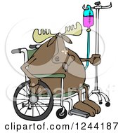 Clipart Of An Injured Hospital Patient Moose In A Wheelchair With An Iv Royalty Free Vector Illustration