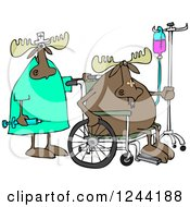 Clipart Of A Nurse And Hospital Patient Moose In A Wheelchair With An Iv Royalty Free Vector Illustration