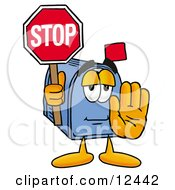Blue Postal Mailbox Cartoon Character Holding A Stop Sign