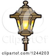 Clipart Of A Brown And Yellow Lamp Post Royalty Free Vector Illustration
