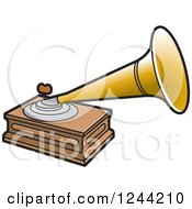 Clipart Of A Phonograph Gramophone Royalty Free Vector Illustration