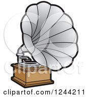 Clipart Of A Phonograph Gramophone 2 Royalty Free Vector Illustration
