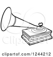 Clipart Of A Black And White Phonograph Gramophone Royalty Free Vector Illustration