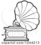 Clipart Of A Black And White Phonograph Gramophone 2 Royalty Free Vector Illustration by Lal Perera