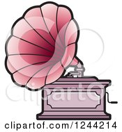 Clipart Of A Phonograph Gramophone 3 Royalty Free Vector Illustration