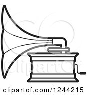 Clipart Of A Black And White Phonograph Gramophone 3 Royalty Free Vector Illustration