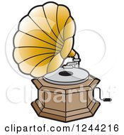 Clipart Of A Phonograph Gramophone 4 Royalty Free Vector Illustration by Lal Perera