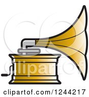 Clipart Of A Phonograph Gramophone 5 Royalty Free Vector Illustration by Lal Perera
