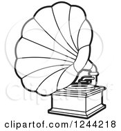 Clipart Of A Black And White Phonograph Gramophone 4 Royalty Free Vector Illustration by Lal Perera